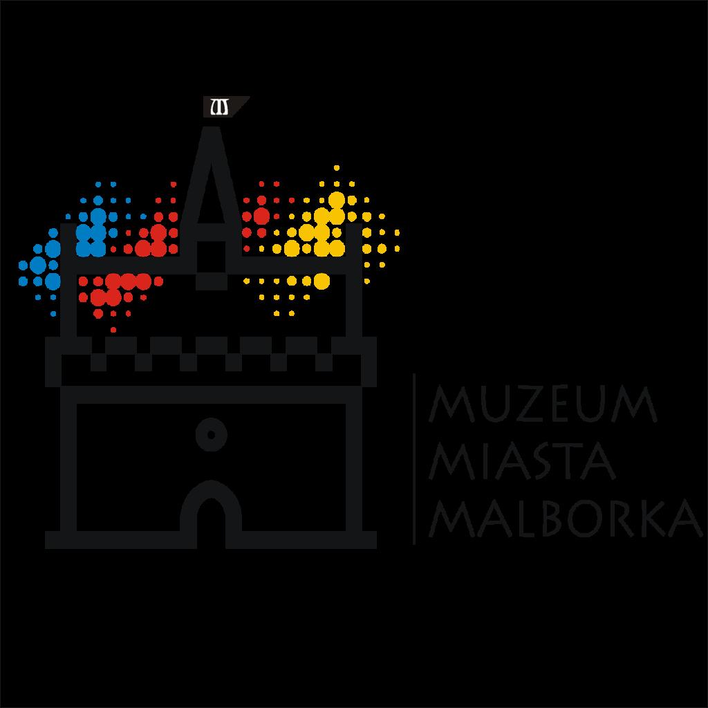 Logotyp Muzeum Miasta Malborka. Kontur ratusza staromiejskiego. W tle niebieskie, czerwone i żółte kropki. Po prawej stronie nazwa instytucji.